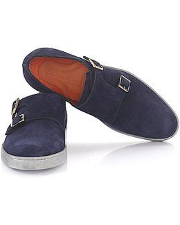 Sneaker Double-monk-strap 15506 Suede Blue