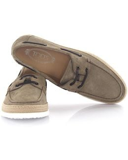 Tods Sneaker Mocassin Barca Suede Taupe Bast