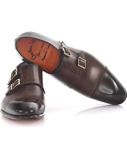 Double-monk-strap 15006 Leather Brown Hand Sewn