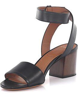 Sandals 6 Paris Ankle Strap Leather Black