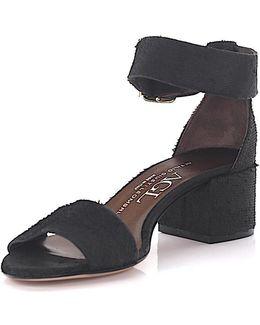 Agl Sandals D63101 Ankle Strap Leather Black Finished