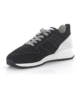 Sneaker R261 Suede Black Leather Silver Perforated