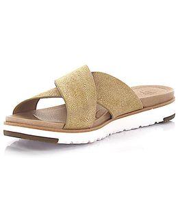 Sandals Kari Leather Gold Finished