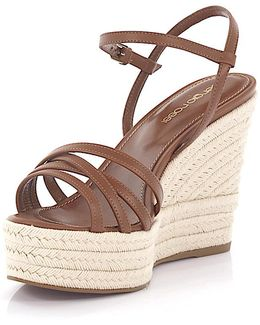 Wedge Sandals Plateau A77500 Leather Brown