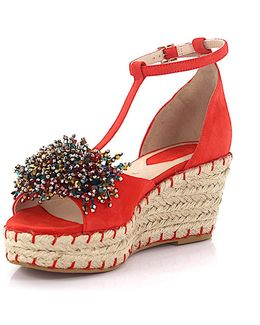 Wedge Sandals 92817 Plateau Suede Red Jewelry Embellished Bast