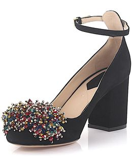 Pumps 92819 Ankle Strap Suede Black Jewelry Embellished