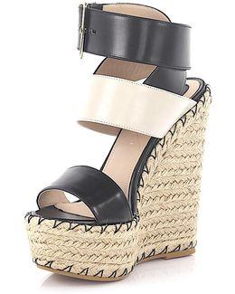 Wedge Sandals 92750 Plateau Leather Black Ivory Bast