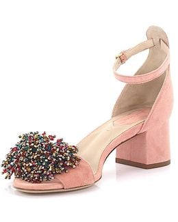 Sandals 92823 Ankle Strap Suede Pink Jewelry Embellished