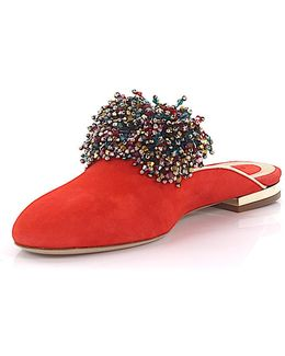 Mules 1123733 Suede Red Jewelry Embellished