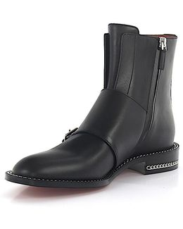 Boots Monk Leather Black Ornaments
