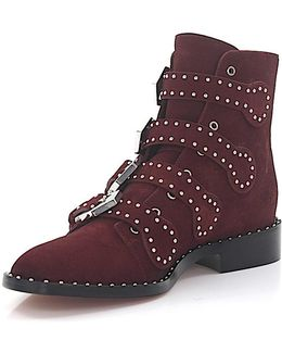 Boots Be08143 Suede Red Silver Rivets