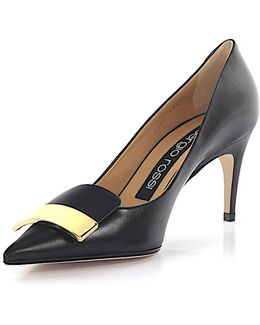 Pumps A7850 Nappa Lether Black Gold-plated