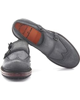 Double-monk Strap 12170 Budapester Suede Grey