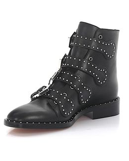 Boots Be08143 Leather Black Silver Rivets