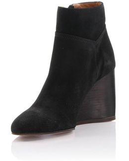 Wedge Ankle Boots Suede Black