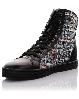 Sneaker High Stoff Leather Black