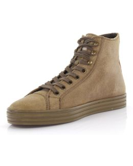 Sneakers High Suede Beige Finished