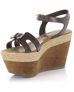 Wedge Sandals Plateau Leather Brown