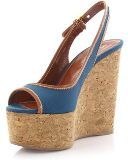 Wedge Sandals Plateau Strappy Canvas Blue