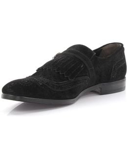 Monk Shoes 50401 Suede Black Fringes