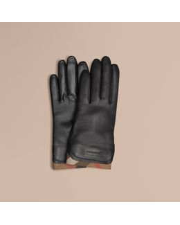 Check Trim Leather Touch Screen Gloves Black