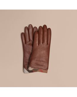 Check Trim Leather Touch Screen Gloves Saddle Brown