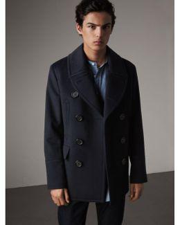 Wool Cashmere Pea Coat Navy