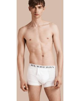 Stretch Cotton Boxer Shorts White