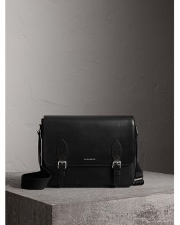 Medium London Leather Messenger Bag Black