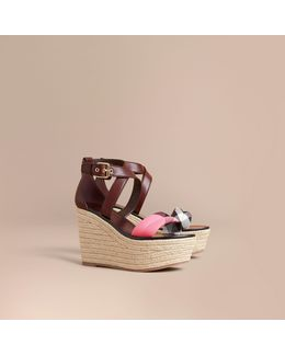 Leather And House Check Platform Espadrille Wedge Sandals Cerise Purple
