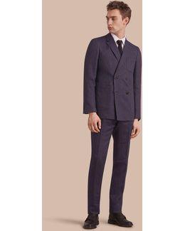 Modern Fit Part-canvas Striped Linen Silk Blend Suit