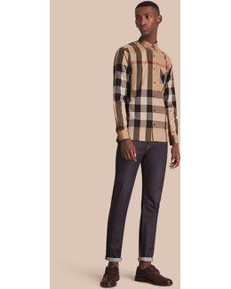 Button-down Collar Check Stretch Cotton Blend Shirt Camel