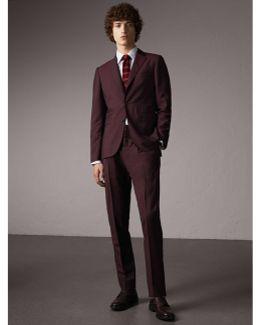 Slim Fit Wool Mohair Suit Oxblood