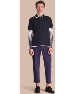 Striped Collar Cotton Piqué Polo Shirt Navy