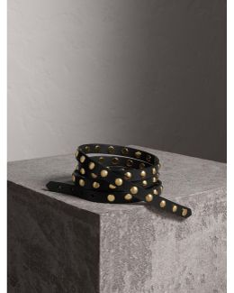 Studded Bridle Leather Double-wrap Belt Black