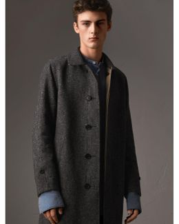 Reversible Gabardine And Donegal Wool Tweed Car Coat  