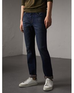 Straight Fit Brushed Denim Jeans