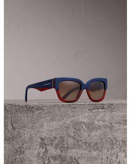 Square Frame Sunglasses In Navy - Women |
