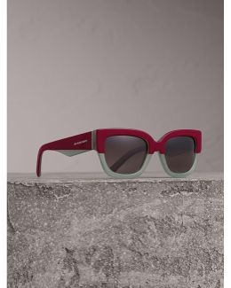 Square Frame Sunglasses In Burgundy - Women |