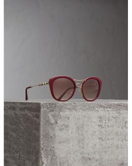 Check Detail Round Frame Sunglasses In Burgundy |