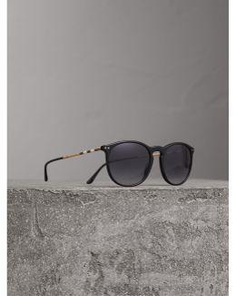 Check Detail Cat-eye Frame Sunglasses In Black |