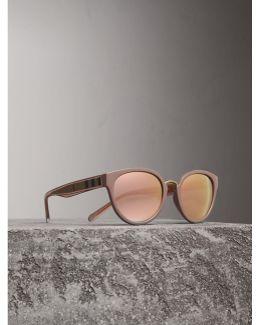 Check Detail Mirrored Cat-eye Frame Sunglasses |