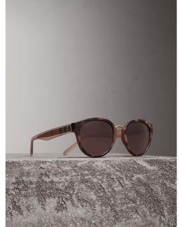 Check Detail Cat-eye Frame Sunglasses In Mink |