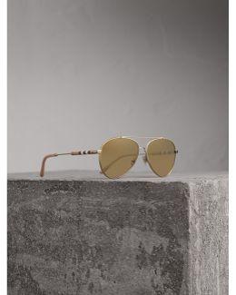 Check Detail Mirrored Pilot Sunglasses |