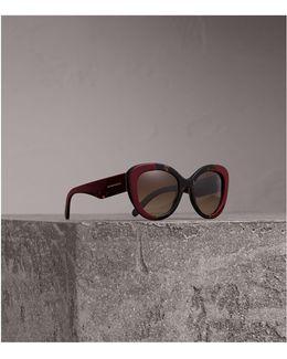 Round Frame Sunglasses In Burgundy |