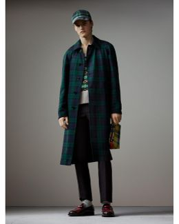 Reversible Tartan Wool And Cotton Gabardine Car Coat