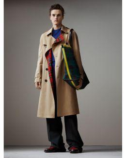 Tartan-lined Cotton Gabardine Trench Coat