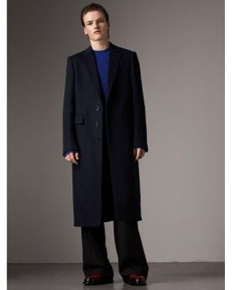 Tartan-lined Cashmere Twill Topcoat