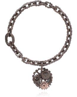 Oxidised Silver Cog Bracelet