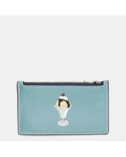 Zip Card Case In Glovetanned Leather With Sundae